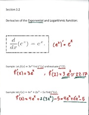 Derivative of the Exponential Lecture Notes