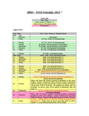 BMS 9310 Course Schedule - Medical Neuroscience
