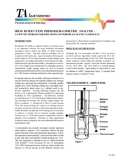 HIGH RESOLUTION THERMOGRAVIMETRIC ANALYSIS