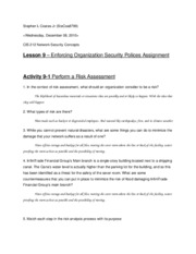 Lesson 9 Enforing Organizational Security Policies Assignment