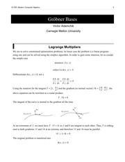 Class Notes - LaGrange Multipliers