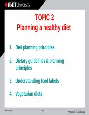 Topic 2 Planning a healthy diet 2015 (Notes)