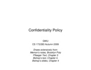 CS283 - Lecture 5 - Part 2 - Confidentiality Policy