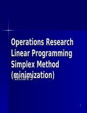 1_LP_Simplex_Min - Operations Research Linear Programming