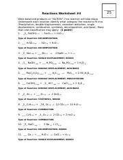 Reactions Worksheet 41415KEY