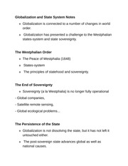 Globalization and State System Notes