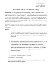 Lab Report 3, Force and Potential Energy