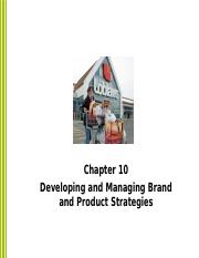 Developing and Managing Brand