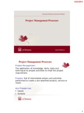 Lecture 3 Project Management Processes for Project Management for Chemical Engineering