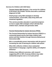 Services for Children with ASD Notes