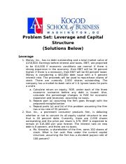 Problem Set-Leverage and Capital Structure