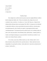 Religion Worldview Paper