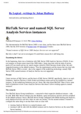 BizTalk Server and named SQL Server Analysis Services instances - Be Logical - writings by Johan Hed