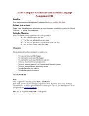 cs401 computer architecture and assembly language programming assignment 1 Cs401 computer architecture and assembly language programmingdownload /upload  cs 401 assignment no:1 due date 10 may 2018 started by sabir.