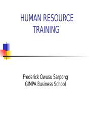 HRMT300  lecture 9 Human Resource Training 1 - Copy
