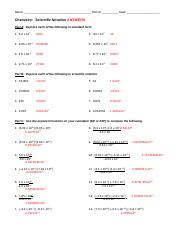 Scientific Notation-Key - KEY Chemistry Scientific Notation ...