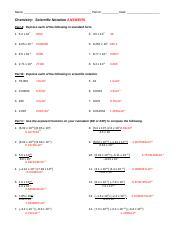 Scientific Notation-Key - KEY Chemistry Scientific Notation ...