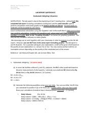 K409 - Lab 8 - Hydrostatic Weighing Questions