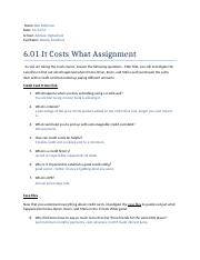 6.01 It Costs What Assignment