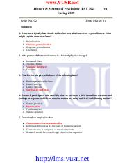History & System Of Psychology - PSY502 Spring 2009 Assignment 03 Solution
