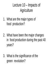 Lecture 10 - Impacts of Agriculture - A2L