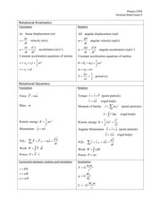 Exam3 Equation Sheet