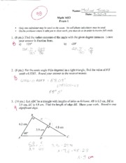 MTH 1613 exam 1 w/ answers