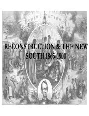 American History Notes Reconstruction and the New South 1865-1900