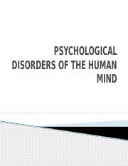 PSYCHOLOGICAL DISORDERS OF THE HUMAN MIND