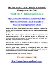 BUS 650 Week 1 DQ 1 The Role of Financial Management in a Firm.doc