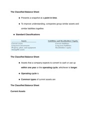 The Classified Balance Sheet Chap 2