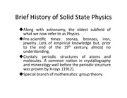 Lecture on History of Solid State Physics