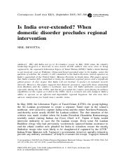 Is India over-extended- When domestic disorder precludes regional intervention