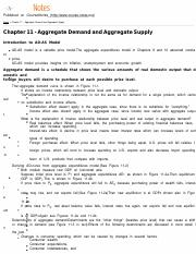 MACROECON Chapter 11 - Aggregate Demand and Aggregate Supply