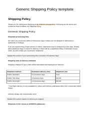 shipping policy generic shipping policy. Black Bedroom Furniture Sets. Home Design Ideas