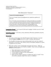 JFK Research Assignment 2015 credible sources and claim revised (1).docx