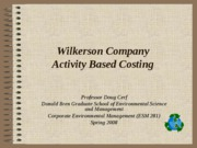 Wilkerson Activity Based Costing Intro