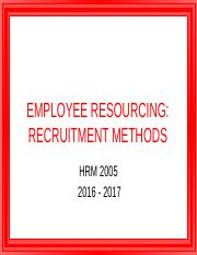 Recruitment Methods 2016-17