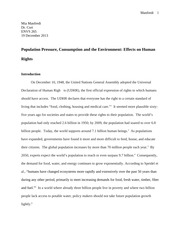 Population Pressure, Consumption and the Environment: Effects on Human Rights Paper