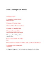 Final Listening Exam Review