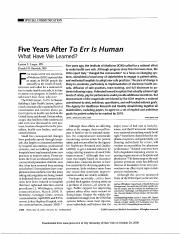 Five years after to err is human, what have we learned, Leape and Berwick.pdf