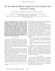 On the optimal block length for joint channel and network coding