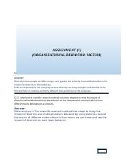 ASSIGNMENT 1(OB) MGT301