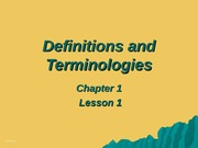 Definitions and Terminologies Chapter 1-Lesson 1