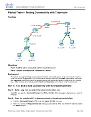 11.3.2.2 Packet Tracer - Test Connectivity with Traceroute Instructions