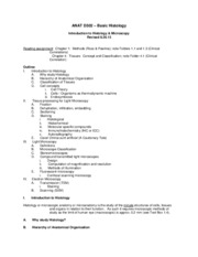 D502 - Histology & Microscopy Lecture Notes