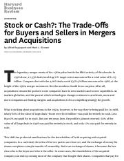 Stock or Cash__ The Trade-Offs for Buyers and Sellers in Mergers and Acquisitions.pdf