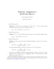 ECON 601 Fall 2011 Assignment 3 Solutions