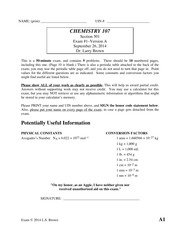 Exam 1 Fall 2014 on Chemistry for Engineers