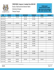 TIMETABLE - Semesster 2, 2020-2021 - Faculty of Earth and Environmental Sciences_Draft 03.docx